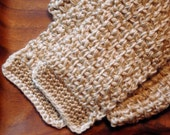 Crochet Scarf in Cream and Taupe - Adult or Child