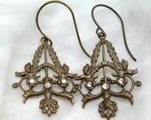 Baroque Elegance - Brass Filigree Earrings