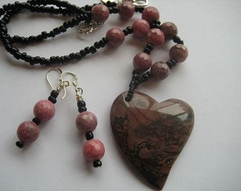 Jasper and Rhodochrosite Heart Necklace Earring Set