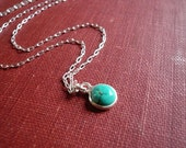 Tiny Turquoise Necklace in Sterling Silver