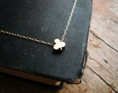 Tiny Clover or Club Necklace in Brass and Gold Filled  - Sweet and Simple Shamrock for Good Luck