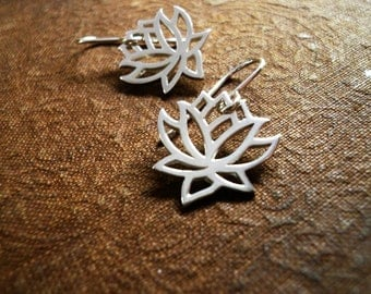 Blooming Lotus Flower Earrings in Sterling Silver