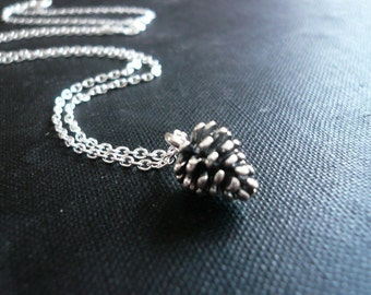 Tiny Pinecone Necklace in Sterling Silver - Simple Delicate Necklace