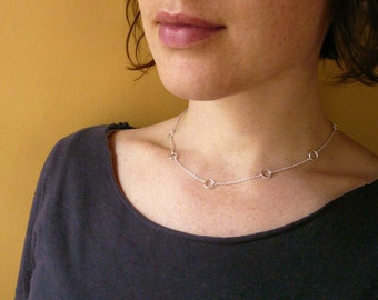 Tiny Linked Circles Necklace in Sterling Silver - Simple, Dainty Everyday Jewelry