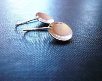 Reflecting Pool Earrings in Sterling Silver, Simple Dainty Everyday Jewelry