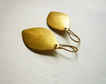 Simple Gold Leaf Earrings in Vintage Brass and Gold Filled