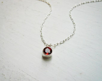 Tiny Garnet Necklace in Sterling Silver - January Birthstone Gem Stone Necklace