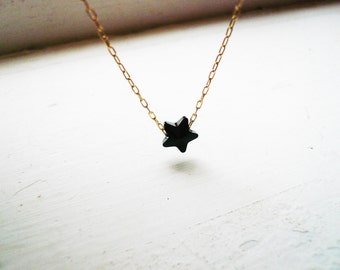 Tiny Black Star Necklace in Gold Filled and Jet Black Swarovski Crystal- Sweet and Simple Dainty Jewelry