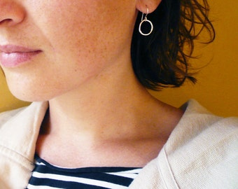 Small Silver Circle Hoop Earrings in Sterling Silver - Organic Twig Circles - Simple Everyday Jewelry, Twig Jewelry