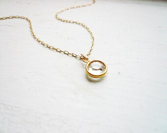 Tiny Clear Crystal Necklace in Gold Filled and Clear Swarovski Crystal- Sweet and Simple Dainty Jewelry