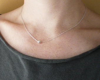 Tiny Bead Necklace in Sterling SIlver - Sweet Dainty Tiny Silver Necklace
