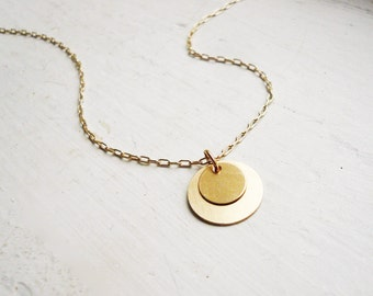 Tiny Gold Layered Dots Necklace in Gold Filled - Great Gift, Dainty Everyday Necklace