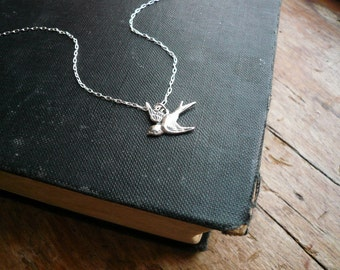Tiny Silver Sparrow Necklace in Sterling Silver - Silver Bird Necklace, Little Sparrow Necklace, Solid Sterling Silver Bird Necklace