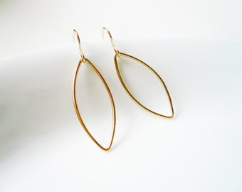Gold Petal Earrings in Gold Filled - Small Gold Leaf Earrings, Dainty Fall Jewelry