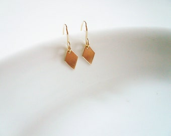 Tiny Gold Diamond Earrings in Gold Filled - Simple Small Everyday Gold Earrings