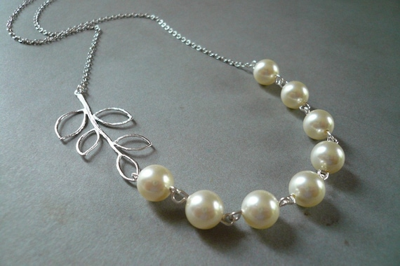 Silver Branch and Cream Swarovski Crystal Pearl Necklace