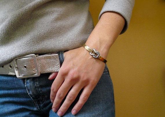 Vintage Brass Buckle Bracelet with Hinge