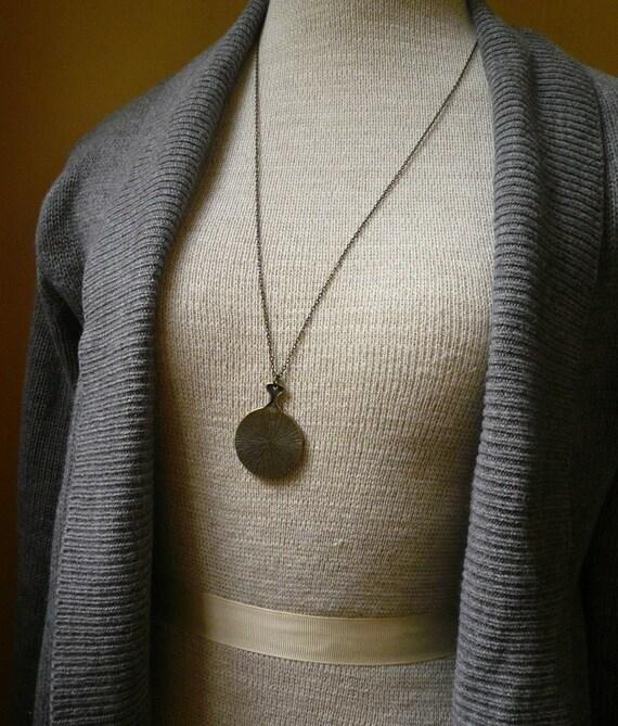 Long Secret Mirror Necklace in Antique Brass