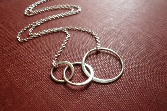 Silver Linked Circles Necklace in Sterling Silver - Three Entwined Sterling Silver Circles Necklace