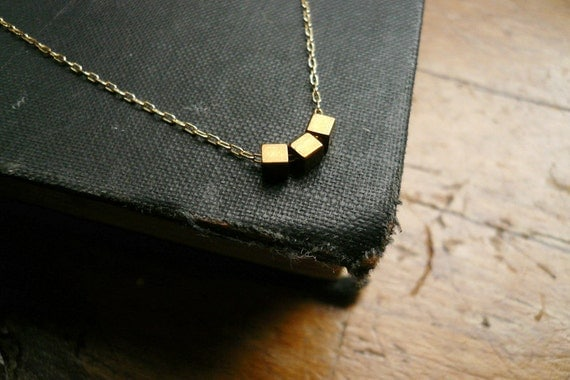 Gold Geometric Necklace - Three Tiny Gold Square Cubes Necklace in Gold Filled and Vintage Brass, Simple Dainty Everyday Jewelry