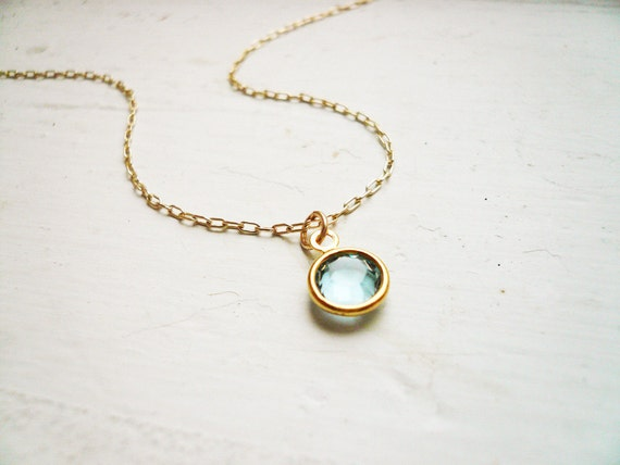 Tiny Blue Crystal Necklace in Gold Filled and Aqua Swarovski Crystal- Sweet and Simple Dainty Jewelry