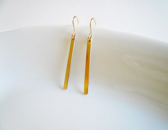 Gold Line Earrings in Gold Filled - Simple Everyday Gold Earrings