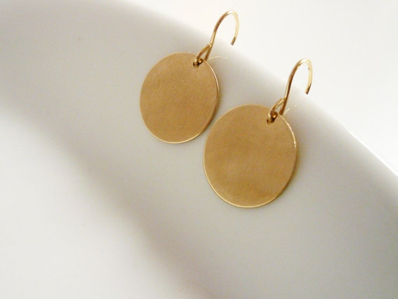 Large Simple Gold Circle Drop Earrings in Gold Filled - Dainty Everyday Earrings