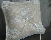 Rustic burlap and chantilly lace ring bearer pillow for the rustic country shabby chic wedding by Gypsyskies