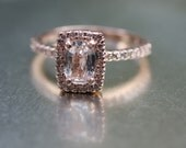Cushion white sapphire in a 14k Rose gold diamond ring