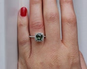 Cushion Forest Green Sapphire Diamond Ring 14k white gold-on hold