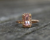 1.27ct Cushion peach lavender champagne sapphire in 14k rose gold diamond engagement ring