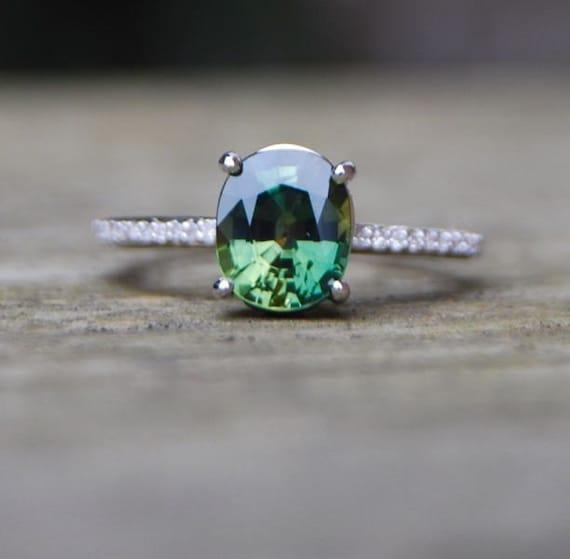 Forest Green Sapphire Diamond Ring 14k white gold -reserved for Lauren