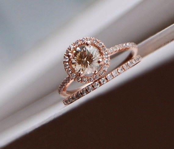 Engagement ring set 0.7ct VS Champagne diamond ring 14k rose gold and matching band