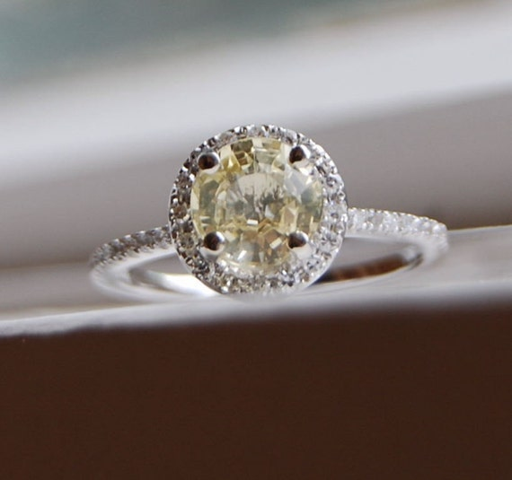 Custom order: Champagne yellow unheated sapphire halo diamond ring ROSE GOLD-final payment reserved