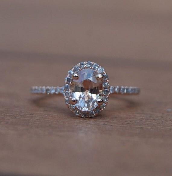 Oval champagne peach sapphire diamond ring 14k rose gold