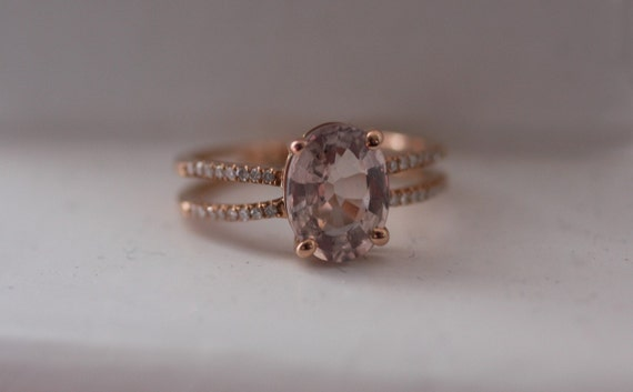 Oval Rose Taupe to Champagne sapphire in 14k rose gold diamond ring - reserved-3rd payment
