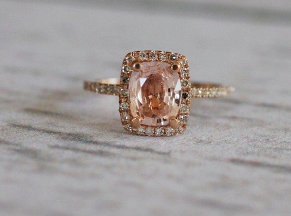 Cushion peach champagne sapphire in 14k rose gold diamond ring-1st payment - on hold
