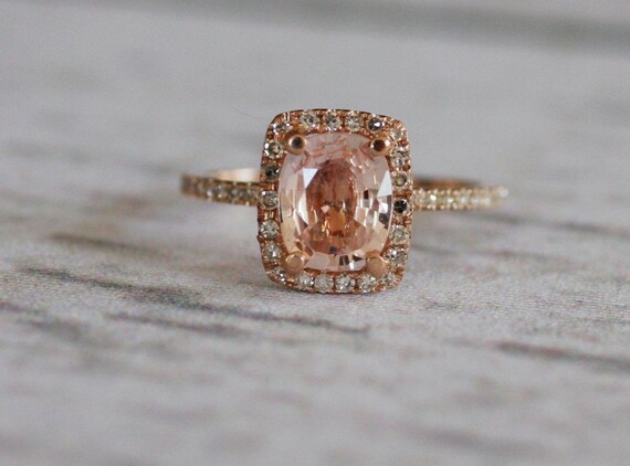 Cushion peach champagne sapphire in 14k rose gold diamond ring-final payment - on hold