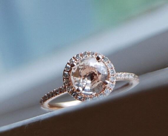 Champagne peach sapphire diamond ring 14k rose gold