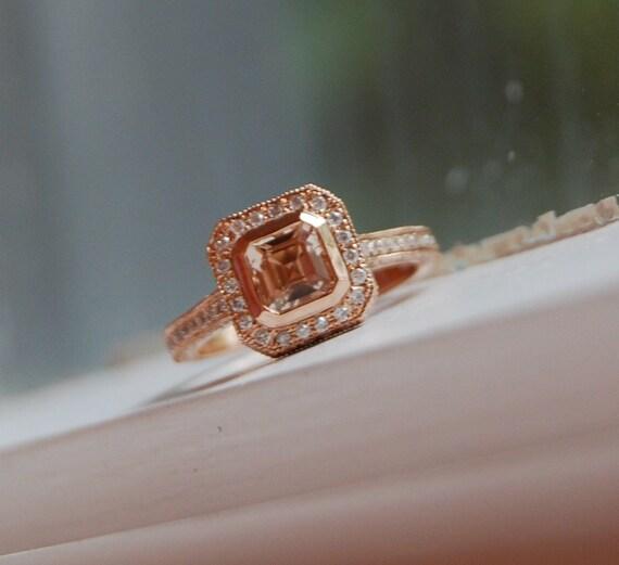Asscher cut Champagne peach sapphire diamond ring 14k rose gold - payment 1