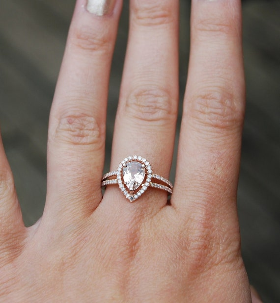 Modified Peach champagne tear drop sapphire and rose gold