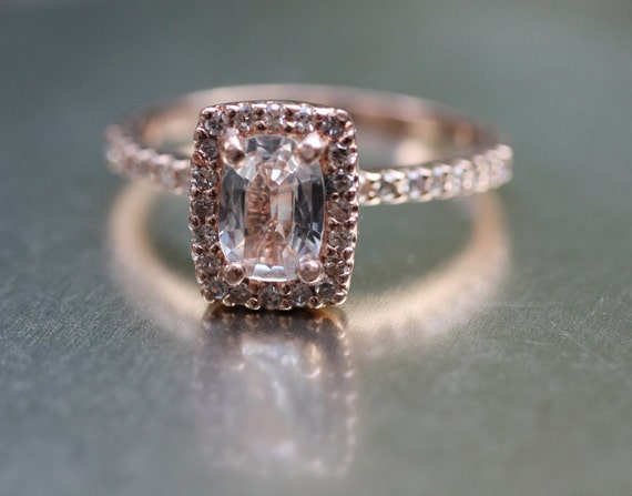 Cushion white sapphire in a 14k Rose gold diamond ring