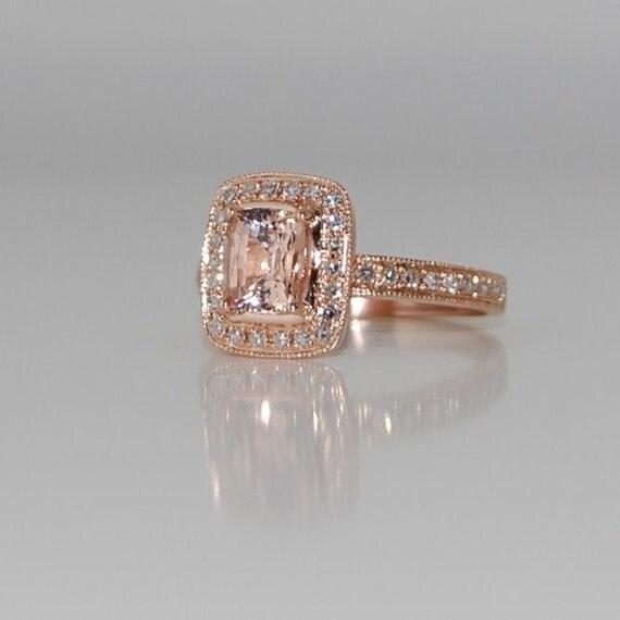 Pave Cushion Peach Champagne Sapphire In 14k Rose Gold Diamond
