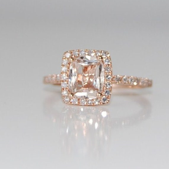 Reserved -1st payment- 1.32ct Cushion peach champagne sapphire in 14k rose gold diamond ring
