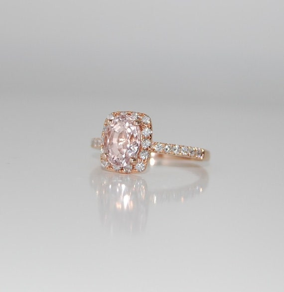 2.5ct Cushion peach champagne sapphire in 14k rose gold diamond ring