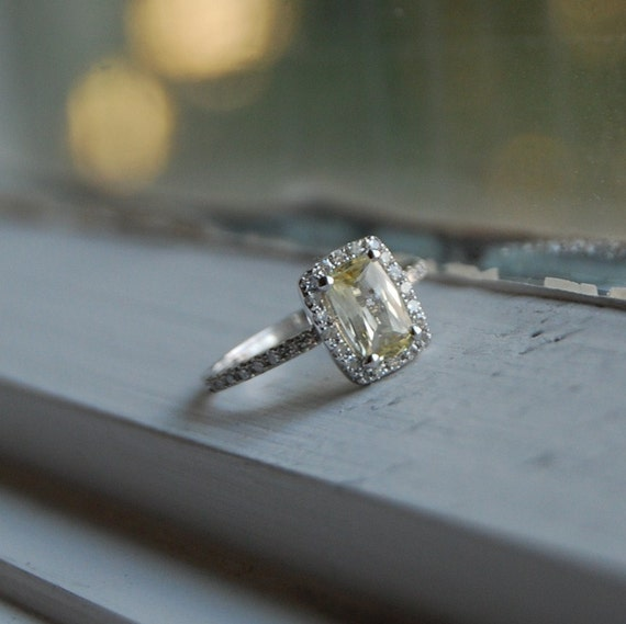 reserved -Unheated champagne yellow sapphire diamond ring-1st payment