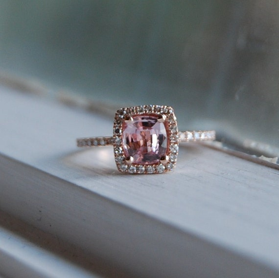 1.18ct Cushion peach lavender champagne sapphire in 14k rose gold diamond ring