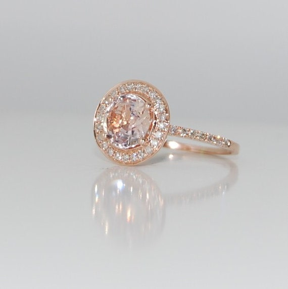 Rose gold engagement ring. 1.3ct round Ice Peach Champagne sapphire diamond  ring 14k rose
