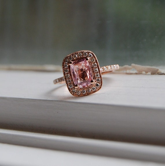 1ct Cushion peach champagne sapphire in 14k rose gold diamond ring