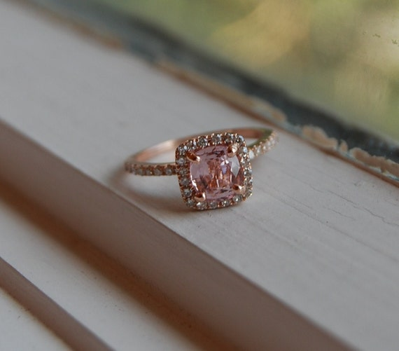 1.12ct Cushion peach champagne sapphire in 14k rose gold diamond ring